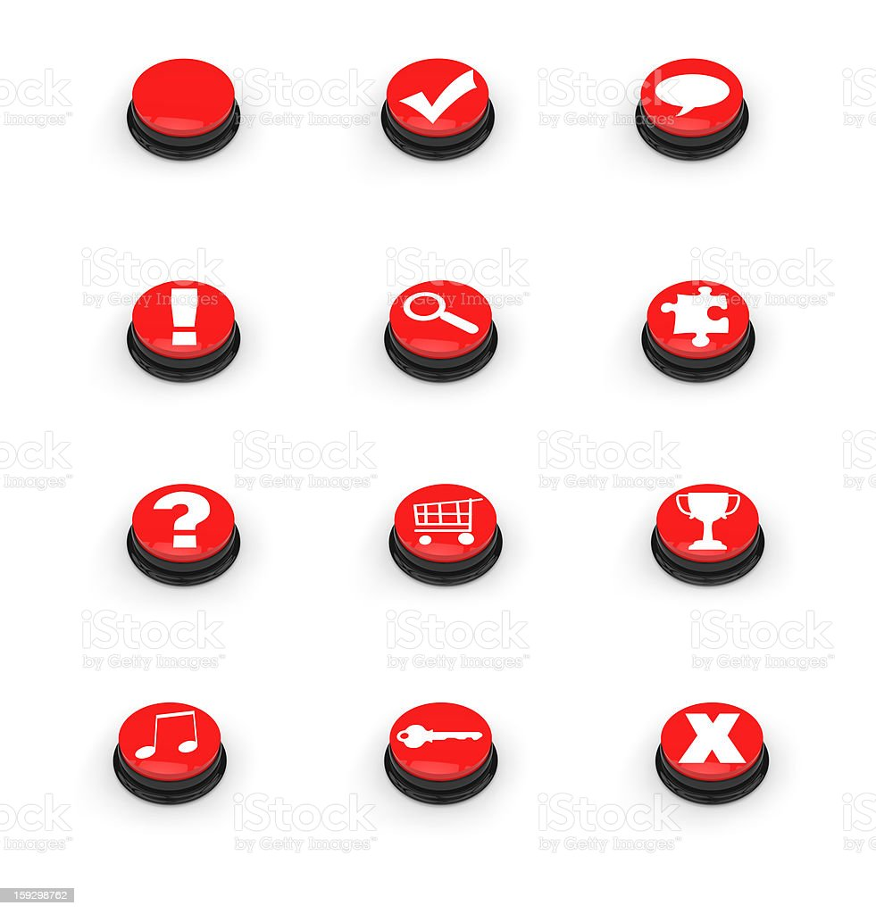 Symbols on red push buttons royalty-free stock photo