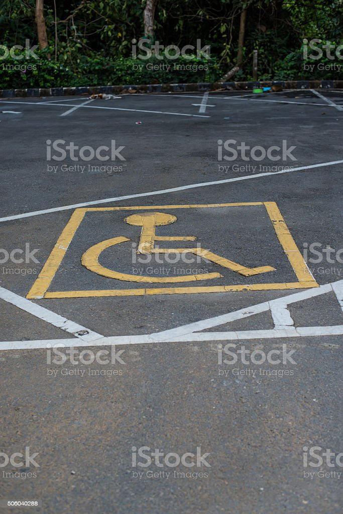 Symbols parking for the disabled. stock photo