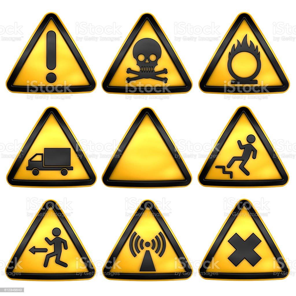 Symbols triangular warning hazard. stock photo
