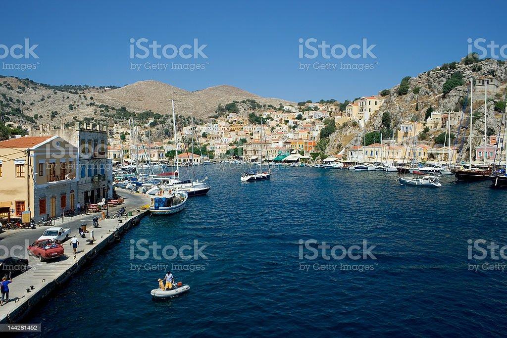 Symi harbor royalty-free stock photo