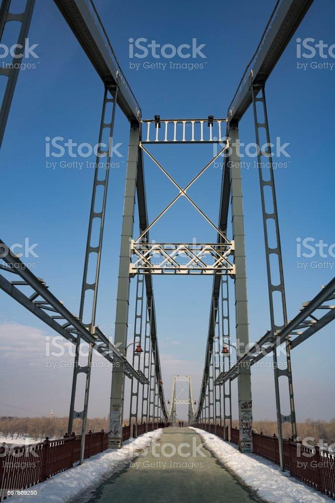Symmetric bridge structure, front view stock photo