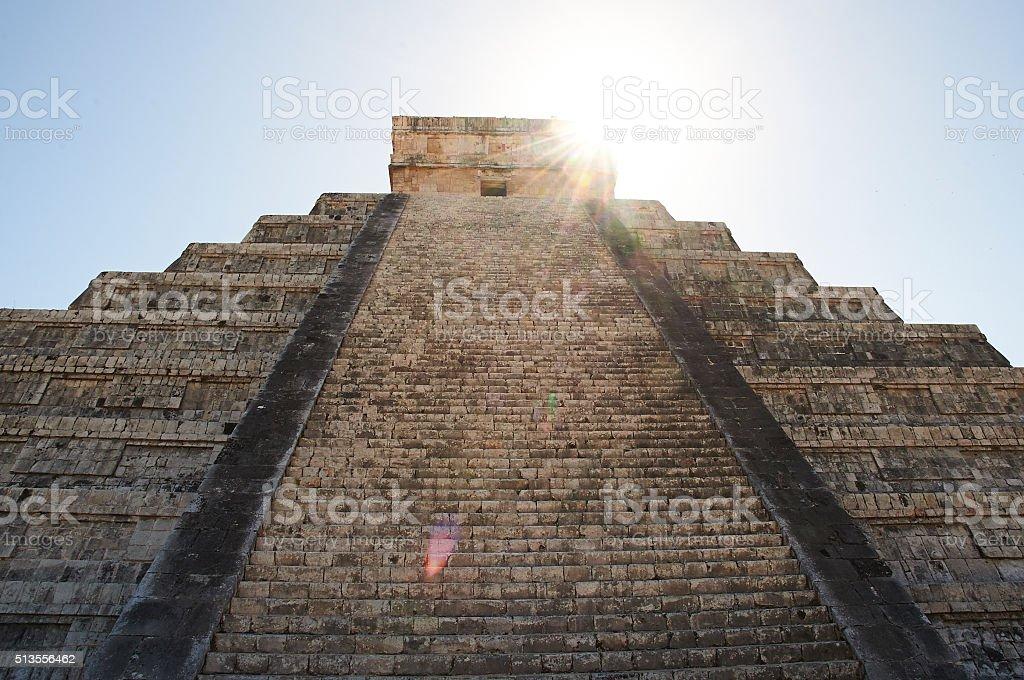 Symmetrical Chichen Itza with Sun Flare stock photo