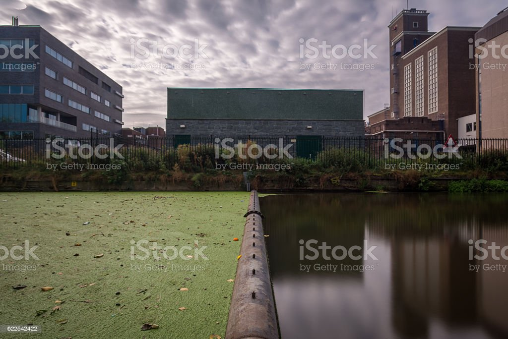 symmetrical industrial buildings stock photo