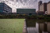 symmetrical industrial buildings