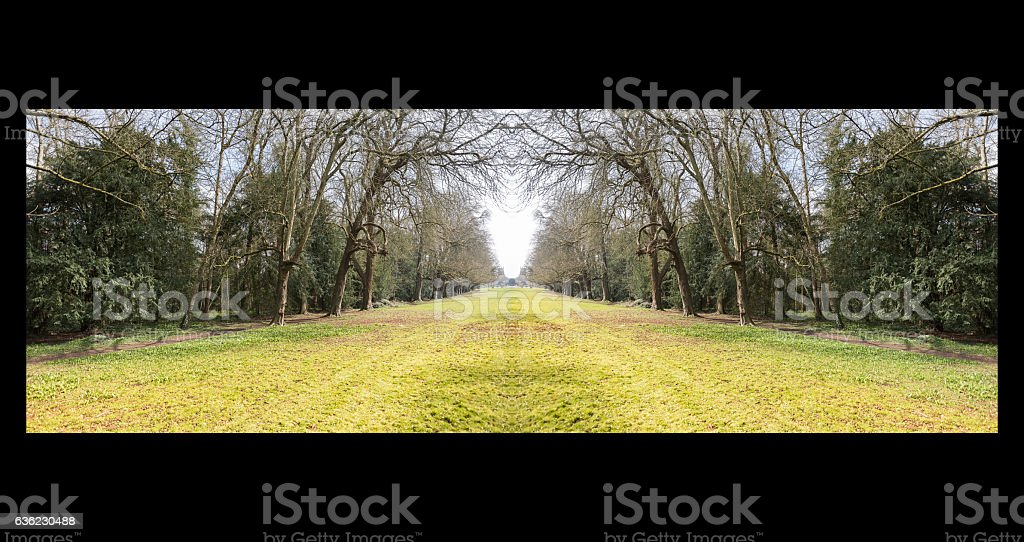 Symmetrical vanishing point to Cirencester stock photo
