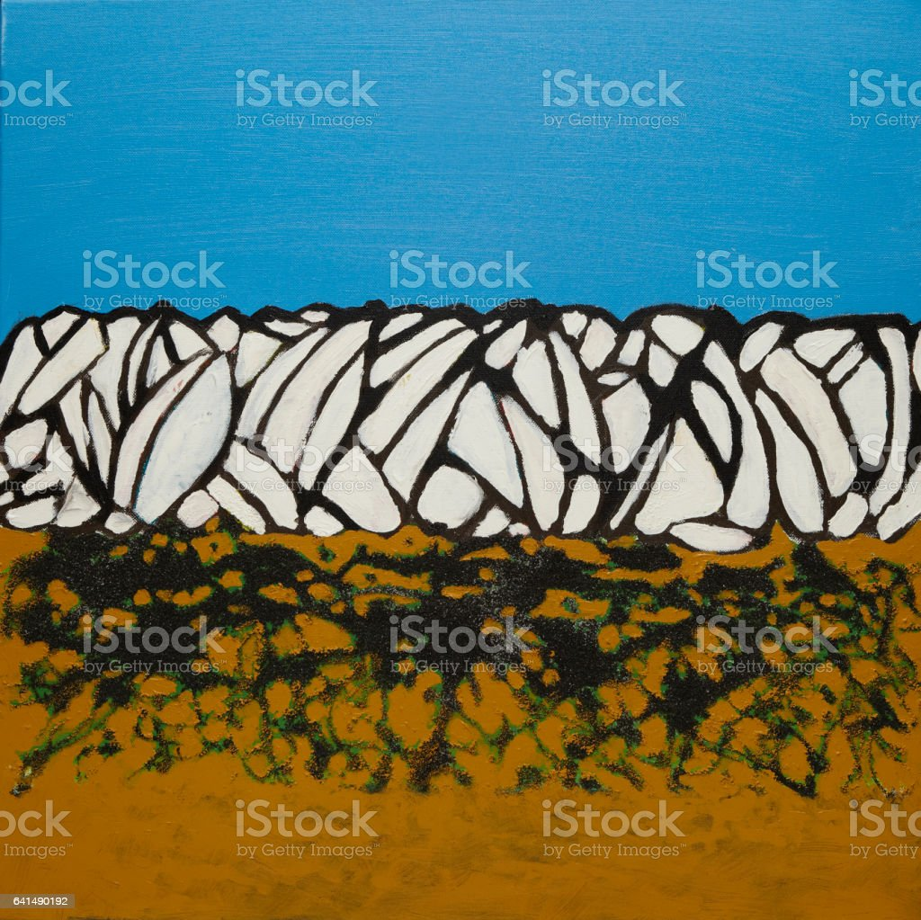 symmetry on the beach (abstract painting of sky and beach) stock photo
