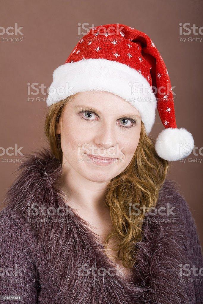 Sympathic Woman-Santa stock photo