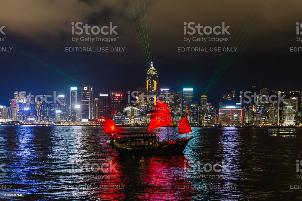 Symphony of light at Victoria Harbour in Hong Kong . stock photo