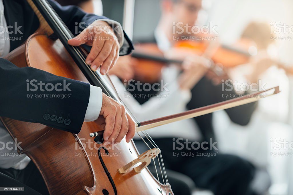Symphony orchestra performance, string section stock photo