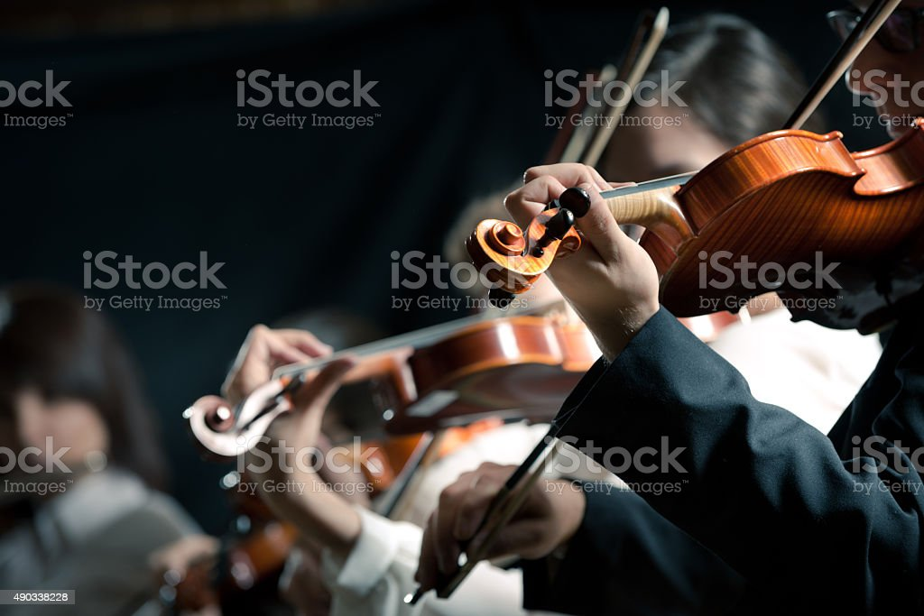 Symphony orchestra violinists performing stock photo