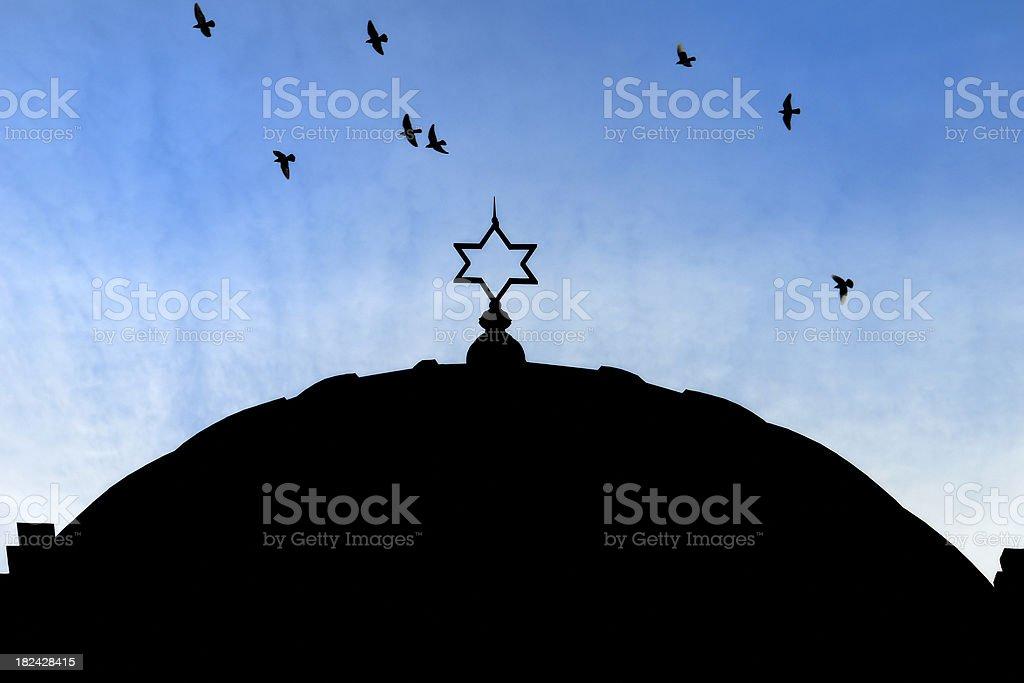 Synagogue and Star of David royalty-free stock photo