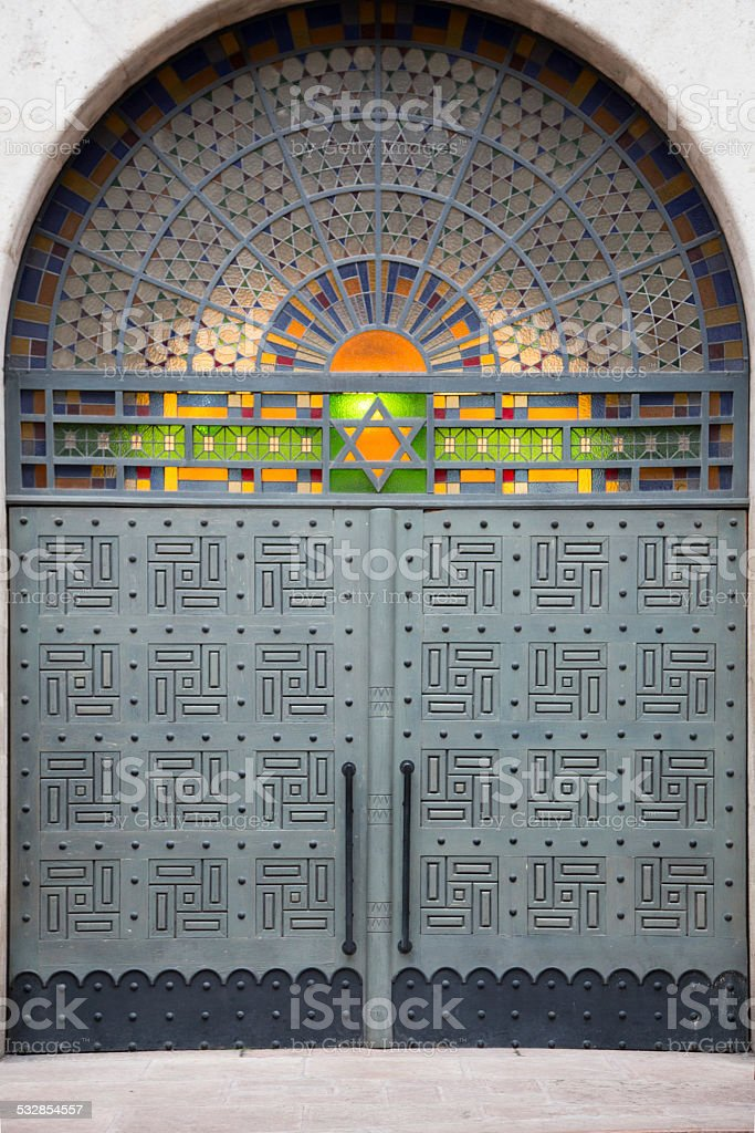 Synagogue entrance in Budapest stock photo