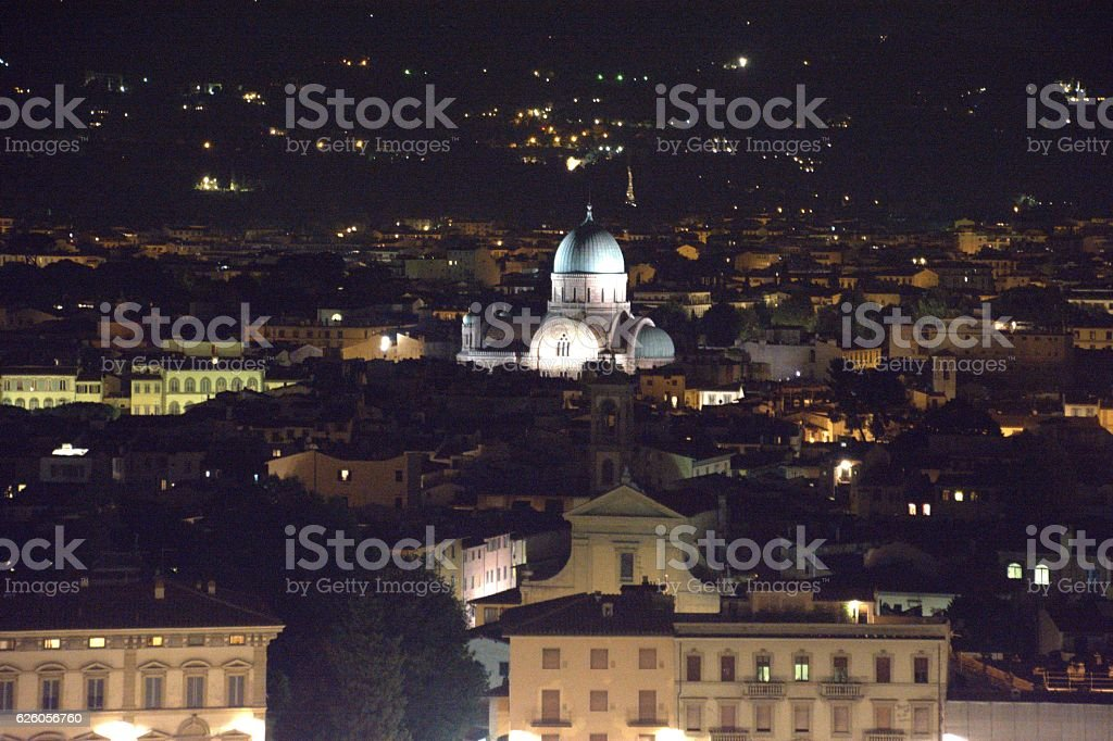 Synagogue of Florence and cityscape by night, Italy stock photo