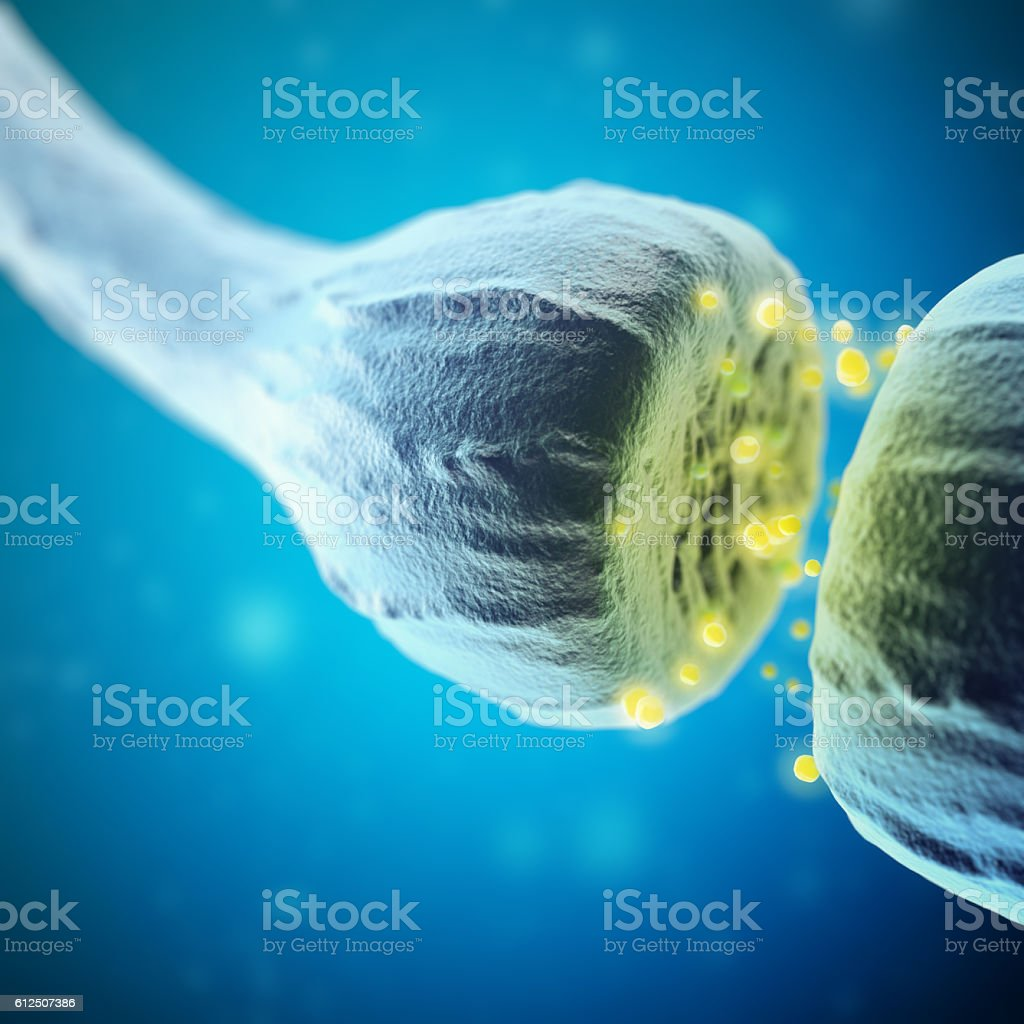 Synapse and Neuron cells sending electrical chemical signals. 3d rendering stock photo