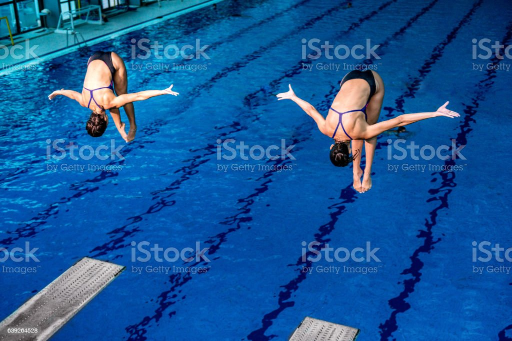 Synchronized diving stock photo