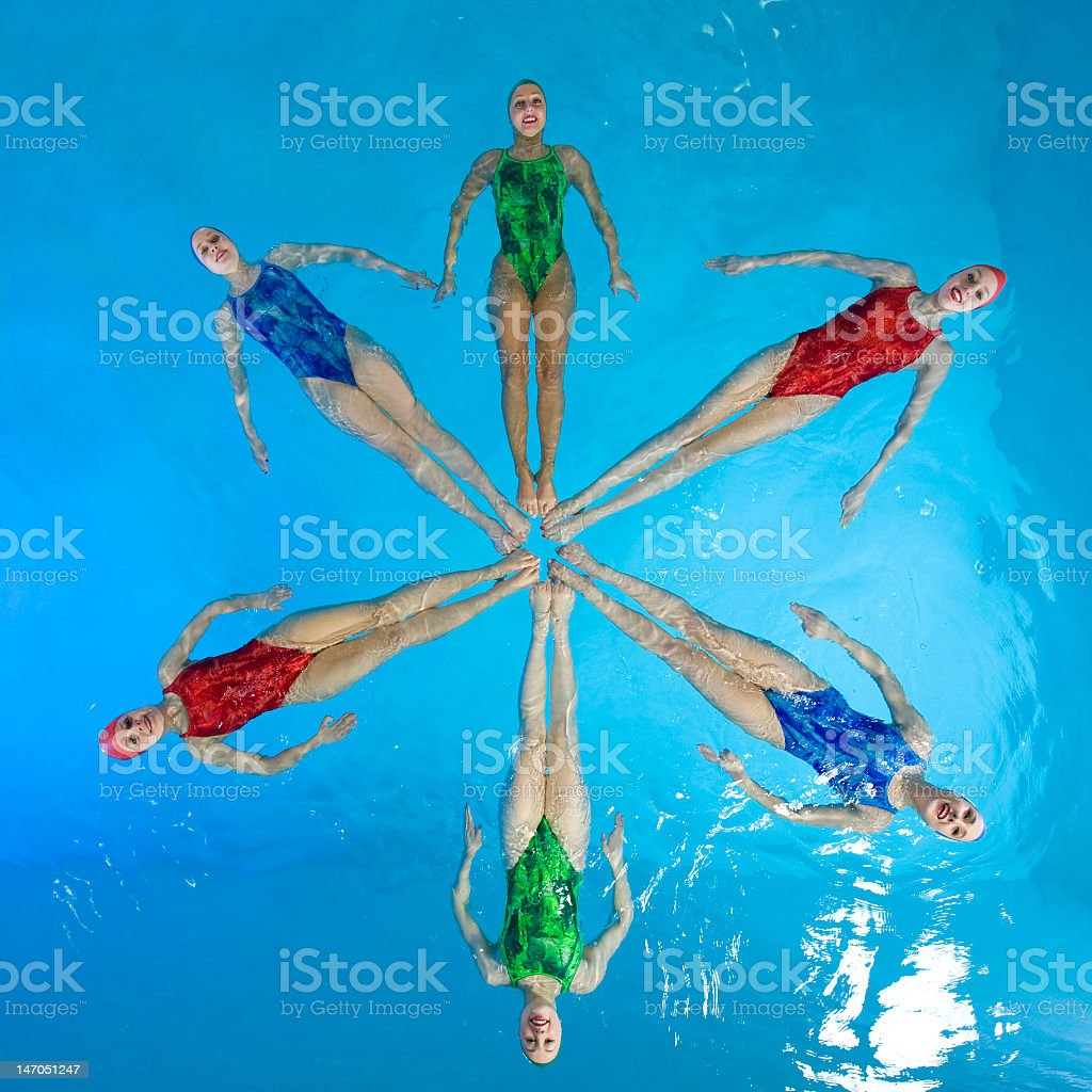 Synchronized female swimmers in star shape stock photo