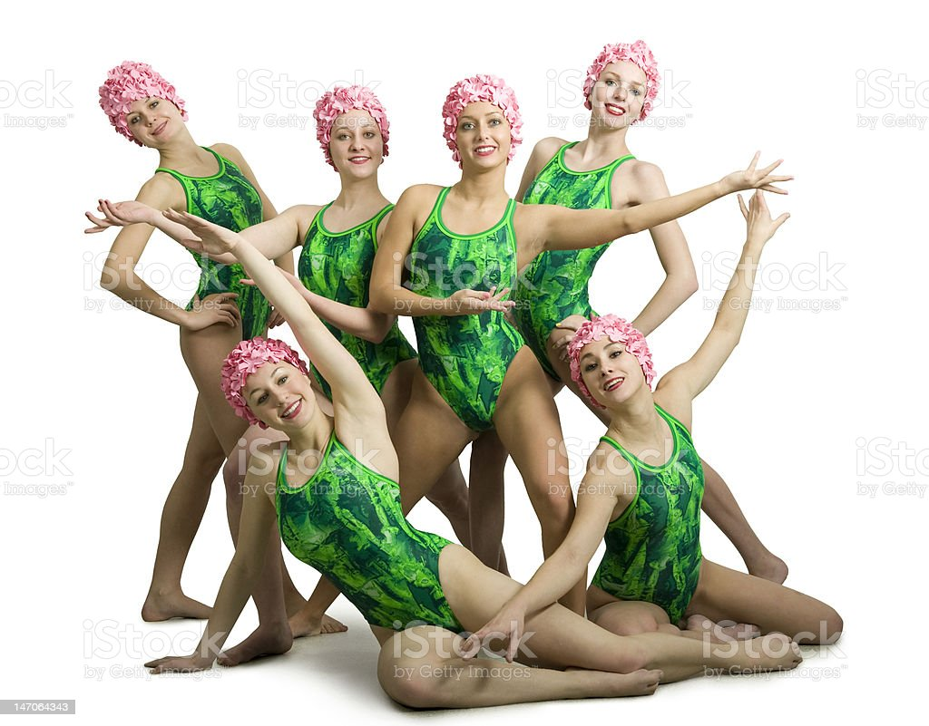 Synchronized Swimmers. Isolated stock photo