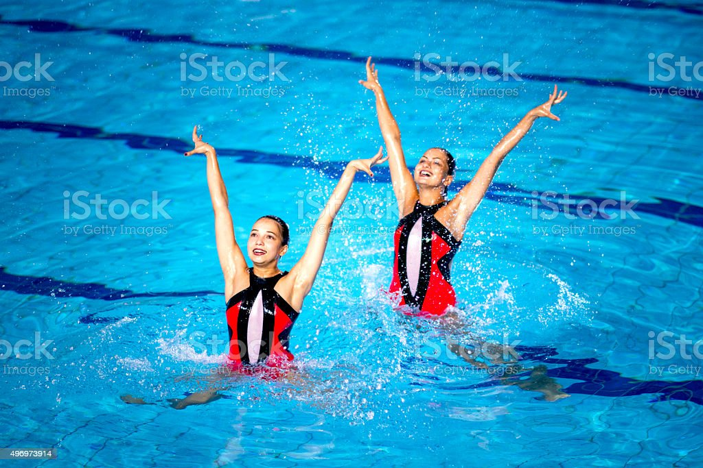 Synchronized Swimming Competition stock photo