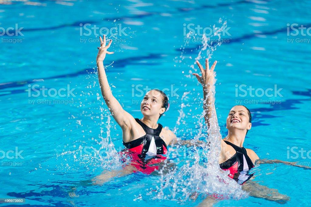 Synchronized Swimming Duet stock photo