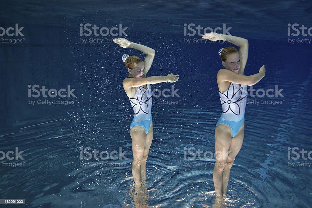 synchronized swimming pose underwater stock photo