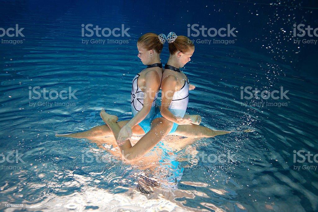 synchronized swimming team stock photo
