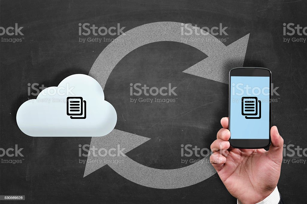 Synchronizing data from to smartphone stock photo