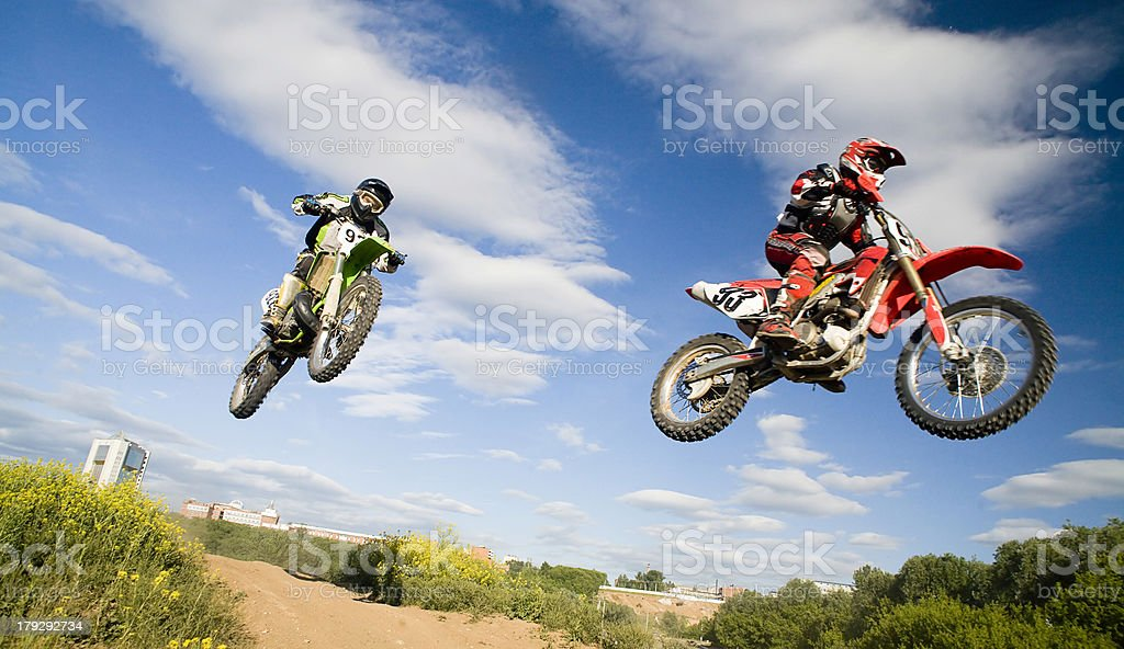 synchronous jump stock photo