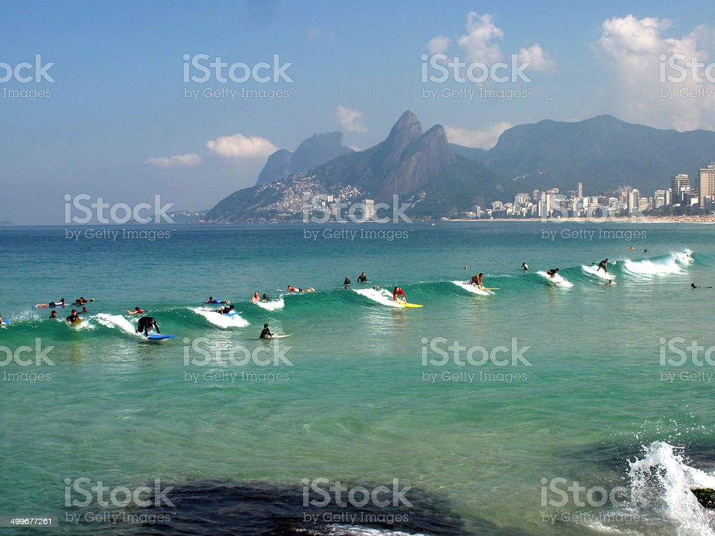 Sincronia na Praia de Ipanema stock photo