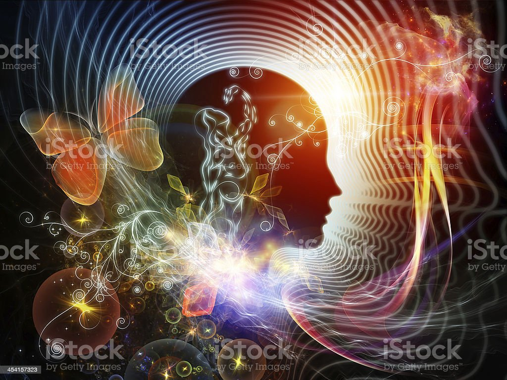 Synergies of the human mind abstract art stock photo