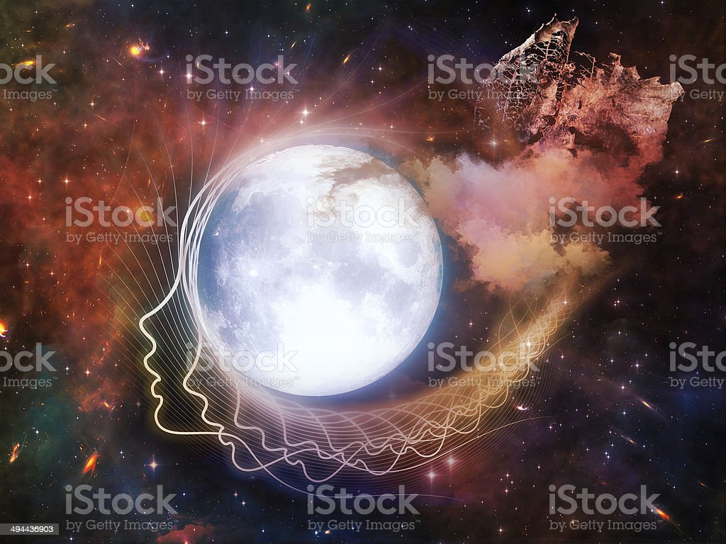 Synergies of the Moon vector art illustration