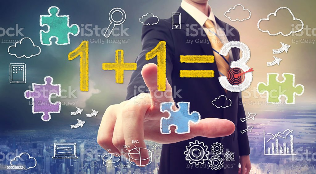 Synergy concept 1+1=3 stock photo