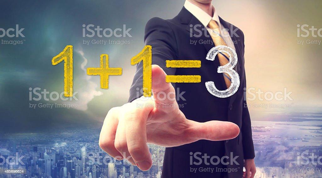 Synergy concept 1+1=3 stock photo
