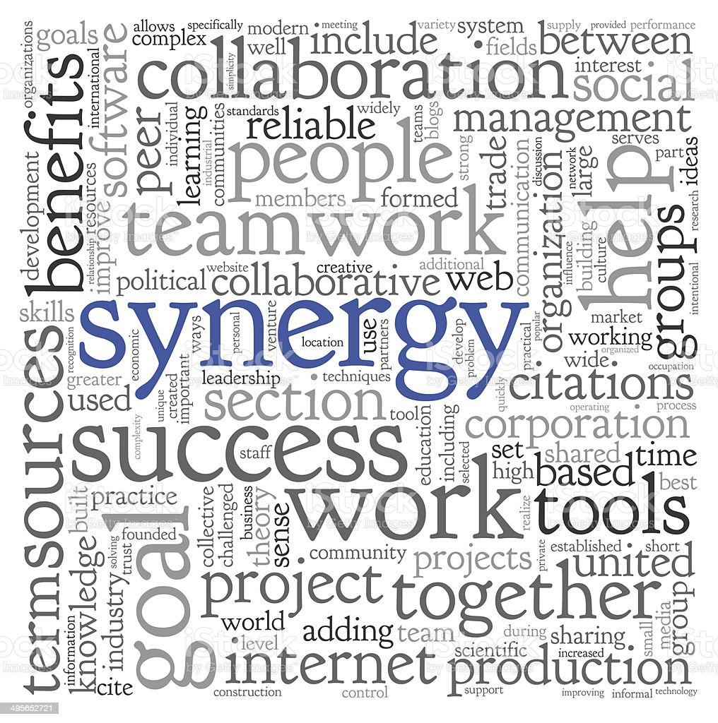 Synergy concept in word tag cloud stock photo