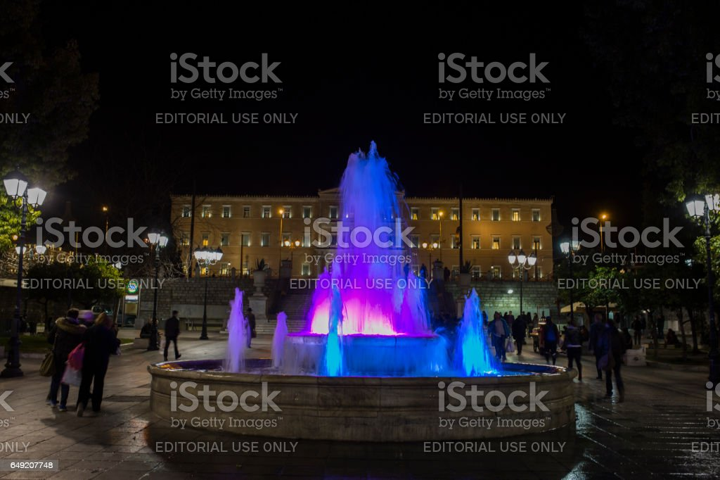 Athens, Greece - February 6, 2017: Syntagma Square at night stock photo