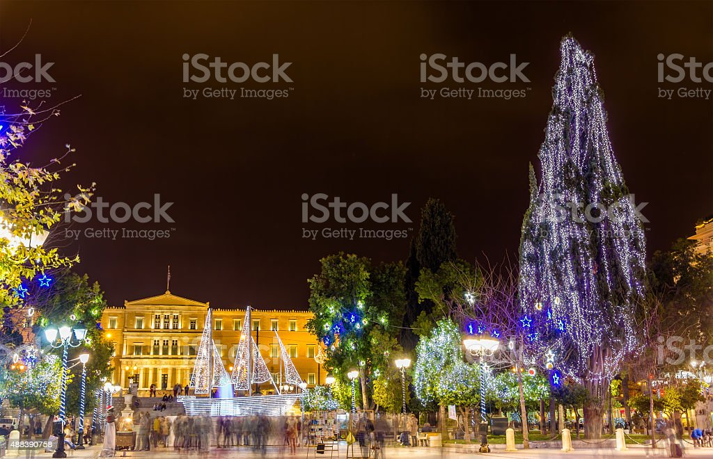 Syntagma square in Athens decorated for Christmas stock photo