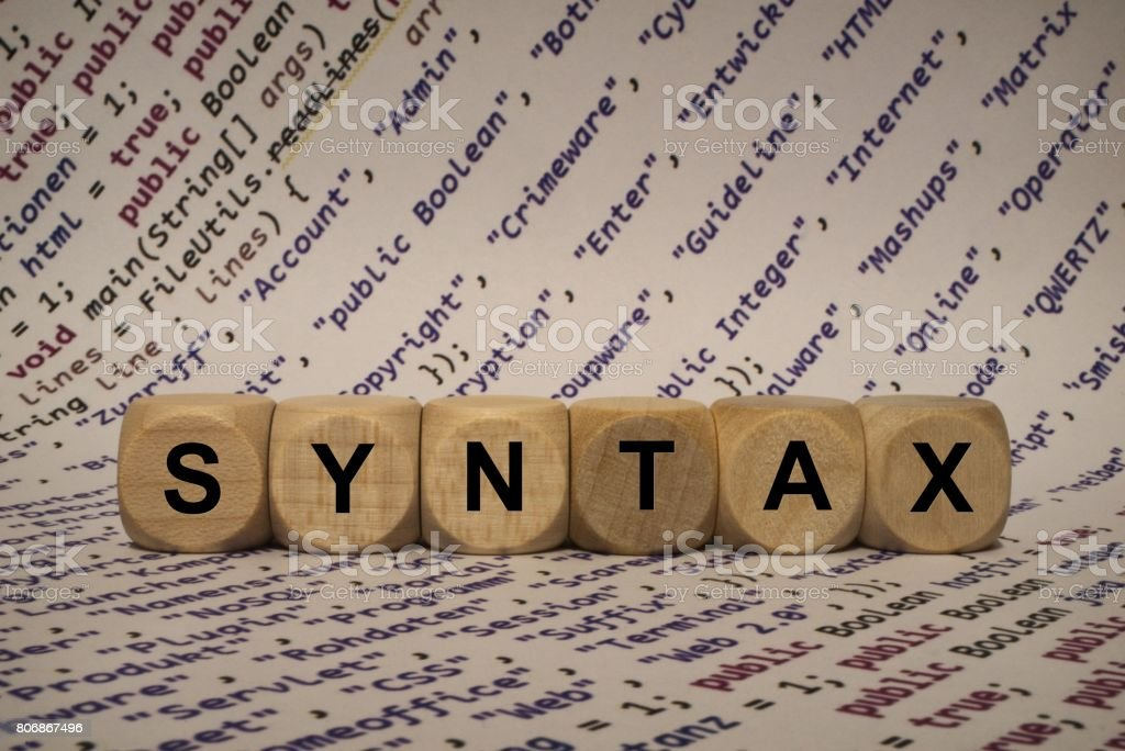 syntax - cube with letters and words from the computer, software, internet categories, wooden cubes stock photo