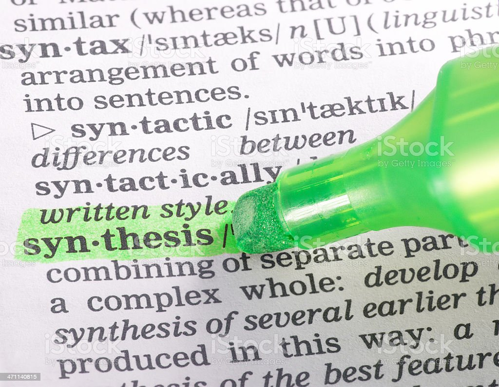 synthesis defintion highligted in dictionary stock photo