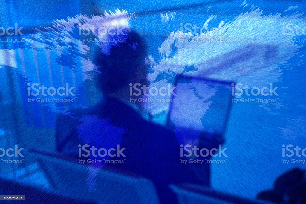 Synthesis of a businessman and a map of the world stock photo