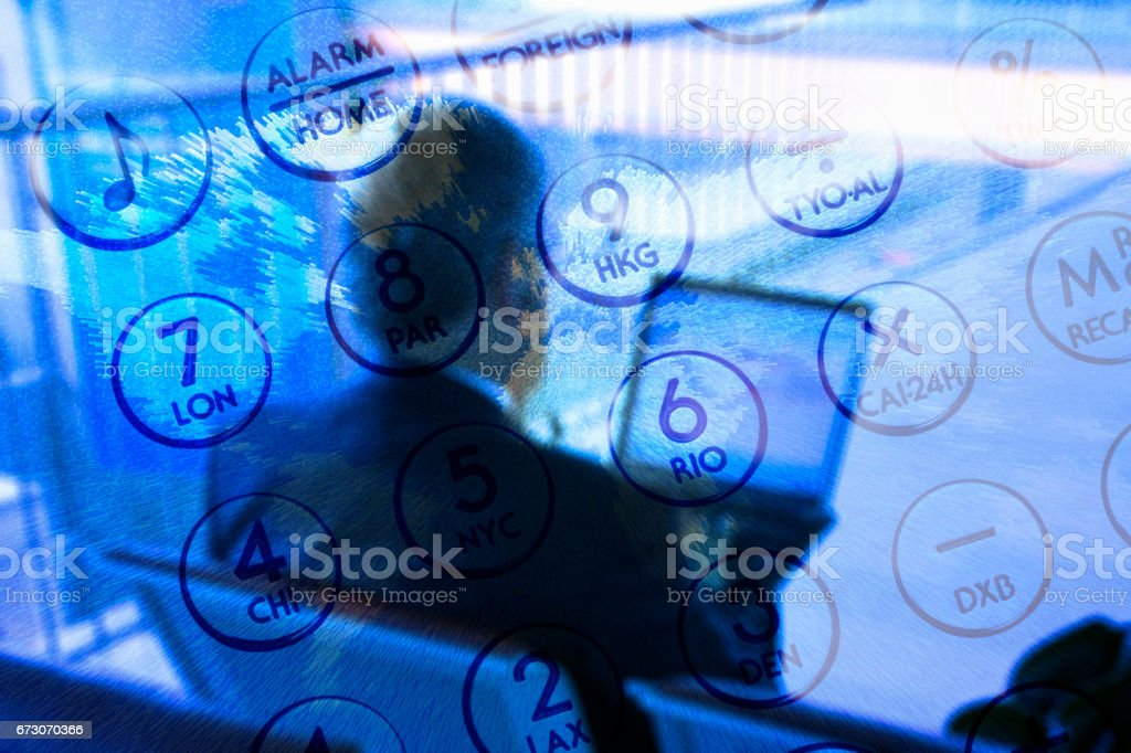 Synthesis of businessmen and calculator stock photo