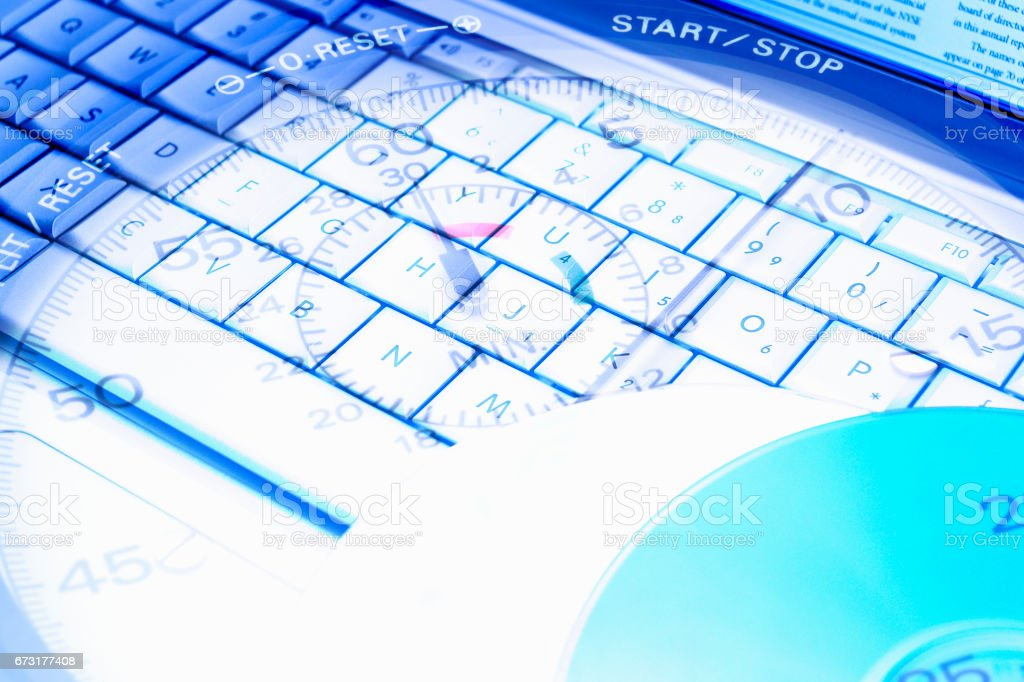 Synthesis of PC and stopwatch stock photo
