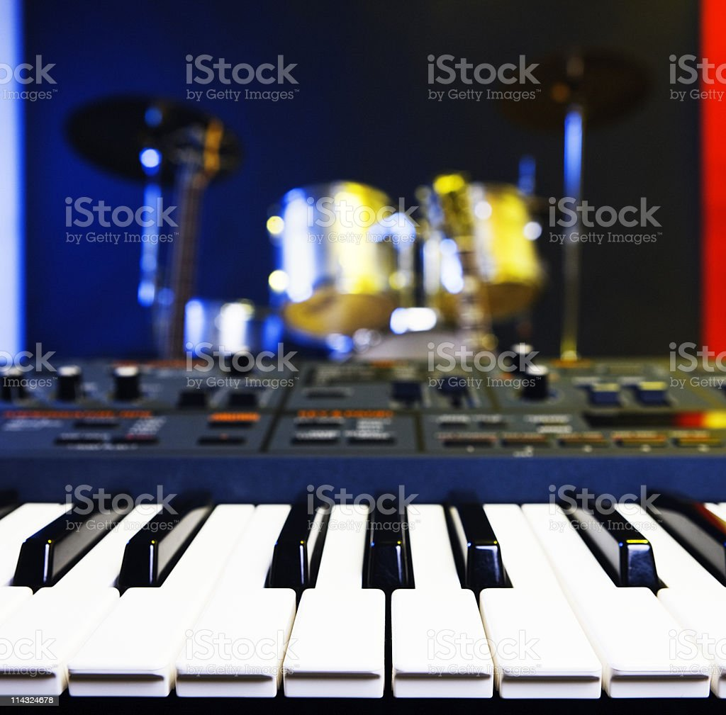 Synthesizer and drums stock photo
