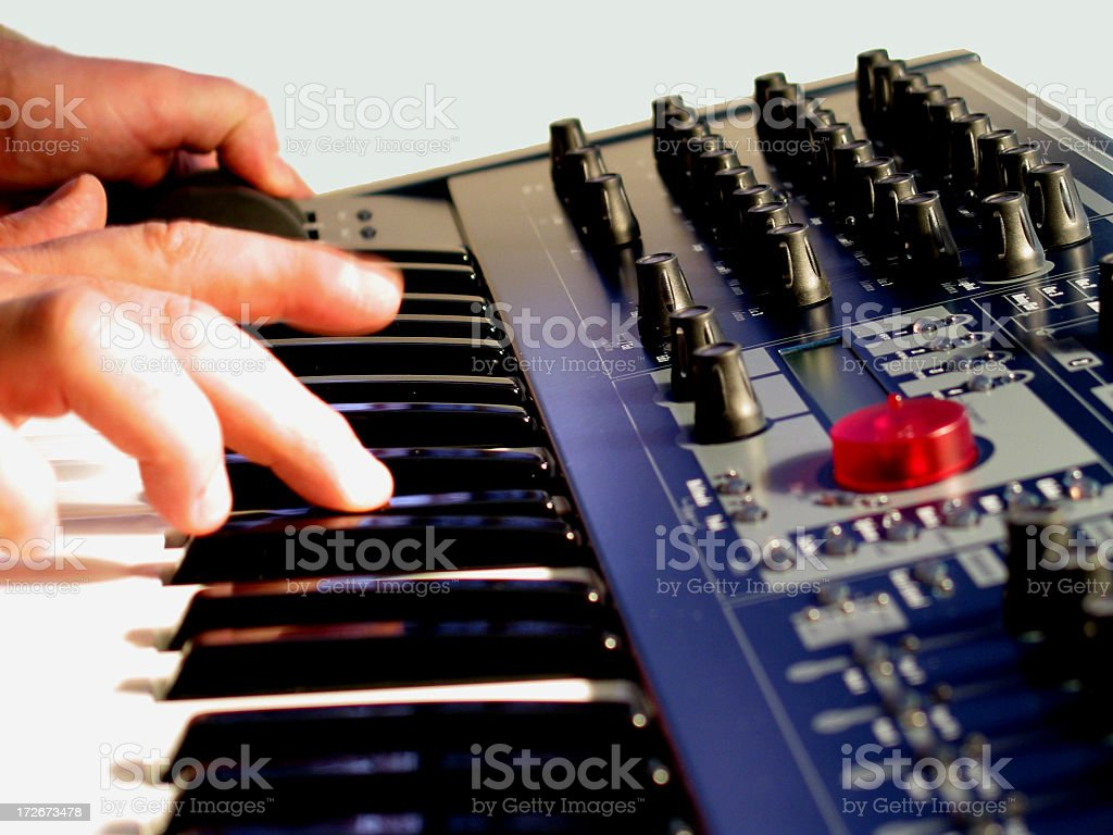 Synthesizer Being Played stock photo