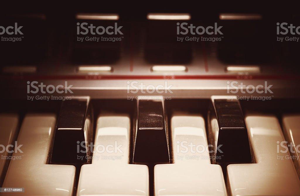 Synthesizer Keys Closeup View stock photo