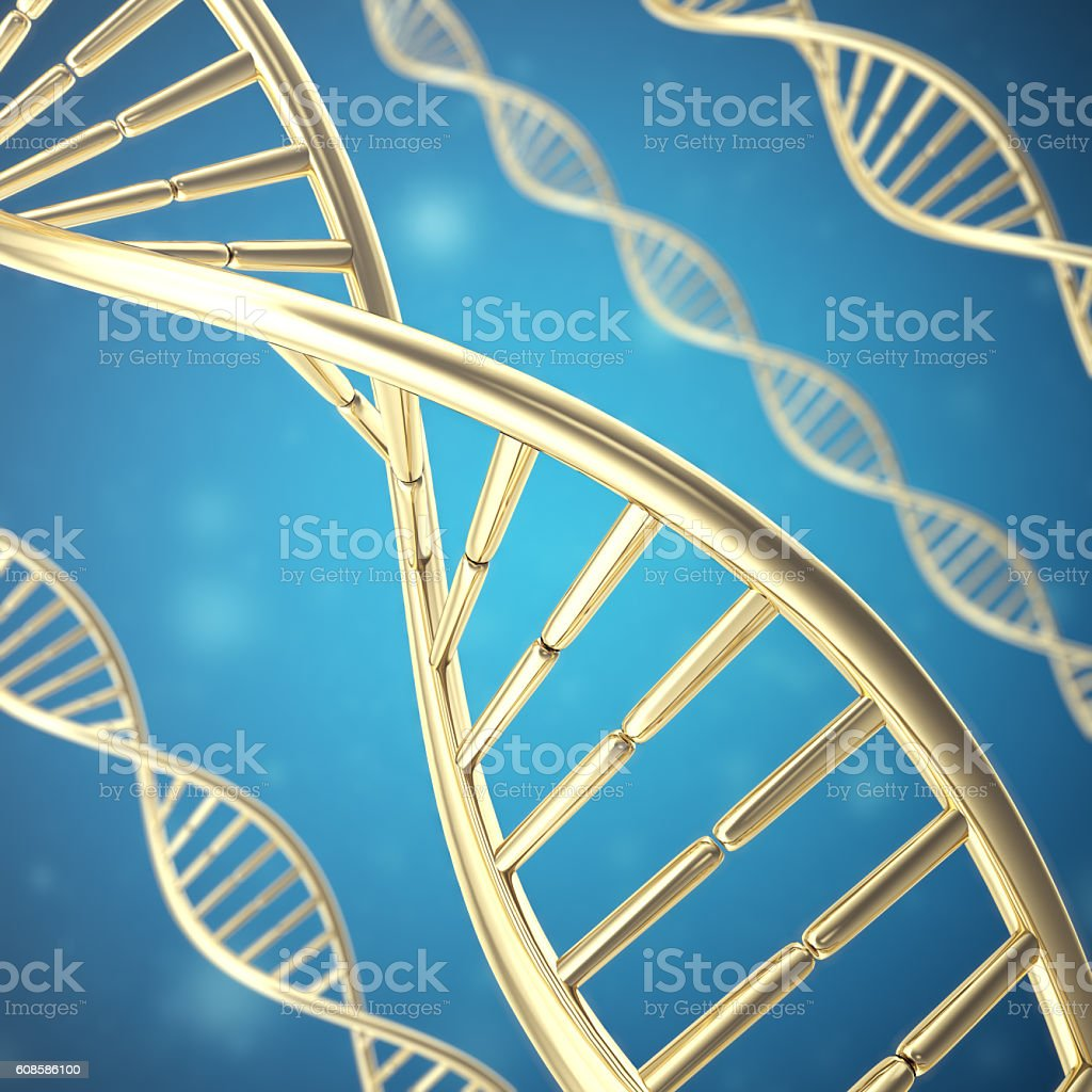 Synthetic, artificial DNA molecule, the concept of  intelligence. 3d rendering stock photo