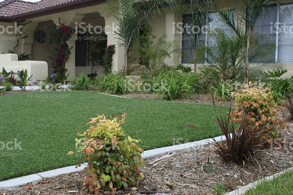 Synthetic Lawn Front Yard stock photo
