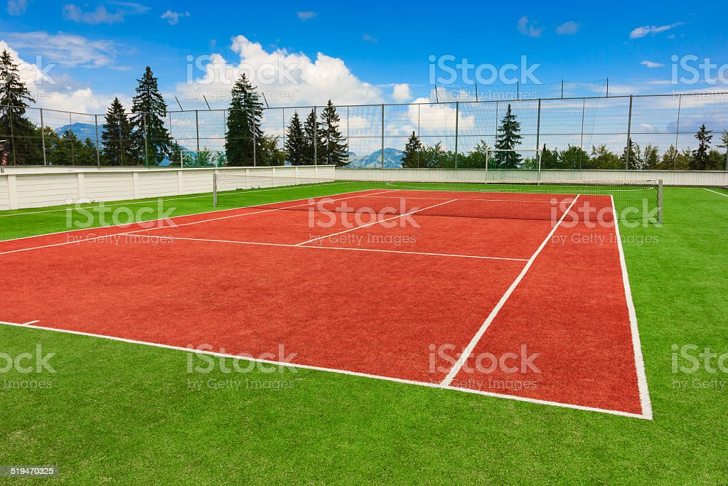 Synthetic outdoor tennis court stock photo