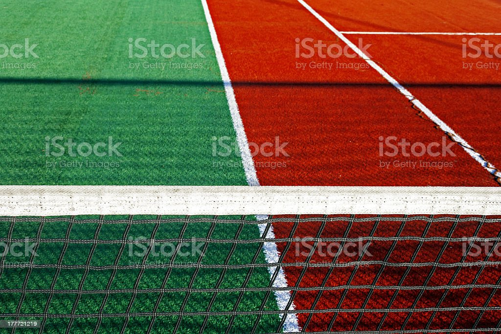 Synthetic sports field for tennis royalty-free stock photo
