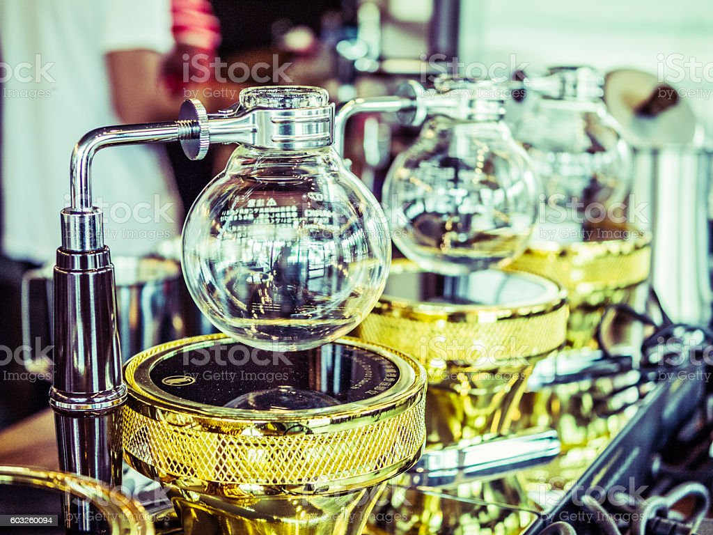 Syphon coffee maker, vintage filter. stock photo