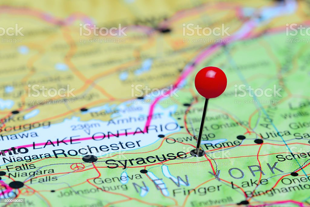 Syracuse pinned on a map of USA stock photo