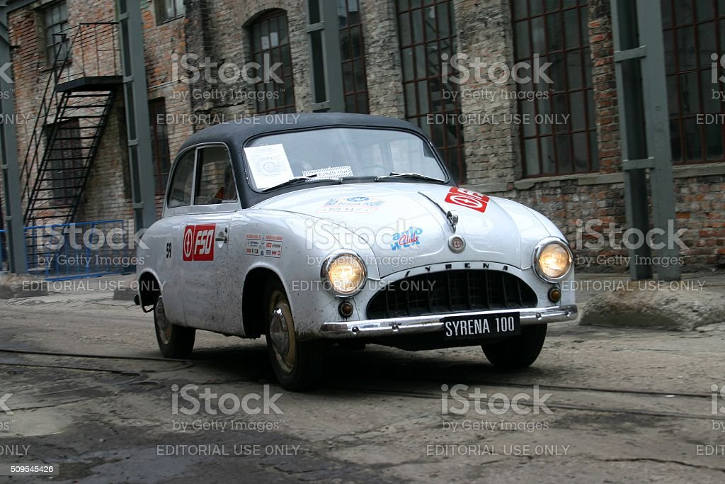 Syrena 100 driving on the street stock photo